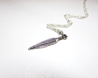 Wish necklace - silver Feather  Necklace - Feather Jewelry -Tiny feather  Gift for her under 20