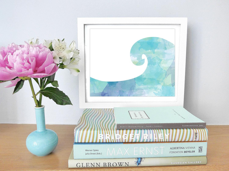 Printable Watercolor Wave Whimsical Beach Decor Coastal