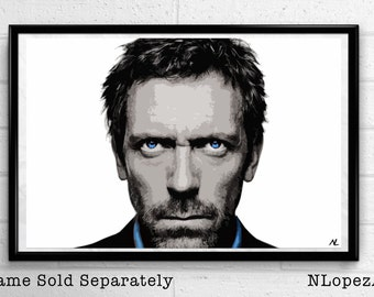 House M.D. Gregory House Hugh Laurie Pop Art Poster Print Canvas