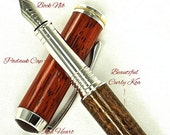 Custom Fountain Pen Beautiful Padauk Cap and Curly Koa Body with Red Heart Finial Rhodium and Gold Titanium Hardware 670FPB