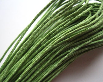 Cotton Waxed Cord, Yellow Green Waxed Cotton String, 10 yds (30 ft), 1mm Waxed Cotton Cord, Bracelet Cord, Knotting Cord