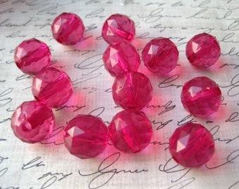 Pink Faceted Beads, 16mm Hot Pink Faceted Beads, 10 pcs, Translucent Beads, Gumball Beads, Bubblegum Bead