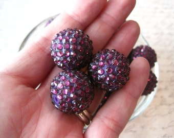 Disco Ball Beads, 10 pcs Purple Rhinestone Bead, 20mm Bumpy Chunky Necklace Bead, Gumball Beads, Bubblegum Bead