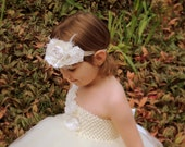 Shabby flower headband, Freyed vintage flower headband, Flower girl headband, Ivory flower girl headband