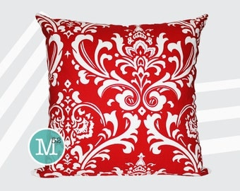 Red Damask Pillow Cover Sham - 18 x 18, 20 x 20 and More Sizes - Zipper Closure - sc1820
