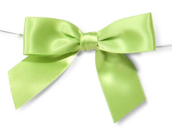 "Lime Green 3"" Pre-Tied Satin Bows with 5"" Twist Ties~ 7/8"" ribbon- Pack of 6"