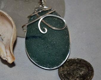Sea Glass Pendant Blue Sea Glass with Dark Blue Stripe Sterling Silver Pendant