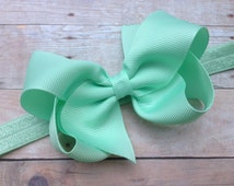 Pastel green headband with 4 inch bow - light green bow headband, baby headband, newborn headband