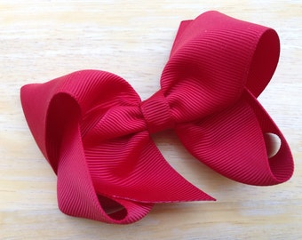 Dark red hair bow - red bow, 4 inch hair bow, boutique bows, girls hair bows, girls bows, toddler bows, boutique hair bows, toddler hair bow