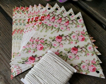 12 piece Make Your Own Floral Bunting Kit, Craft, Wedding, Penants, Flags