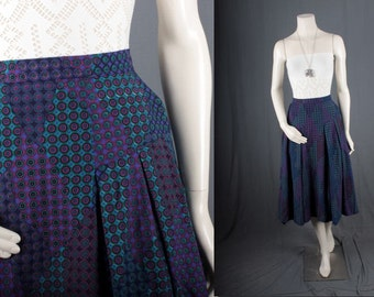 Vintage Blue Pleated Skirt bohemian pleated womens size S small