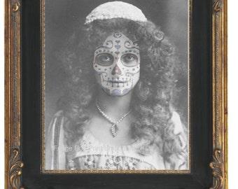 Sugar Skull Woman Art Print 8 x 10 - Altered Art Edwardian Day of the Dead - Art Deco Flapper
