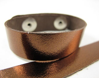"Metallic Bronze Leather Cuff Bracelet 5/8"" Wide, #50-85831014"