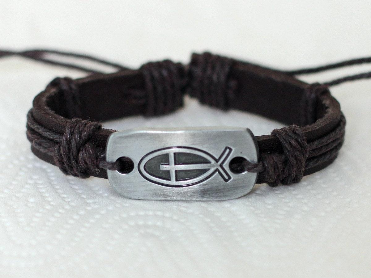 192 men 39 s leather bracelet jesus fish bracelet cross by for Mens fishing bracelet