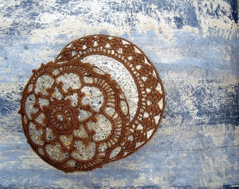 Table Decoration, Crocheted Lace Stone, Handmade, Golden Brown Cotton Thread, Tiny Stitches, Unique Gift, Home Office or Cottage Decor