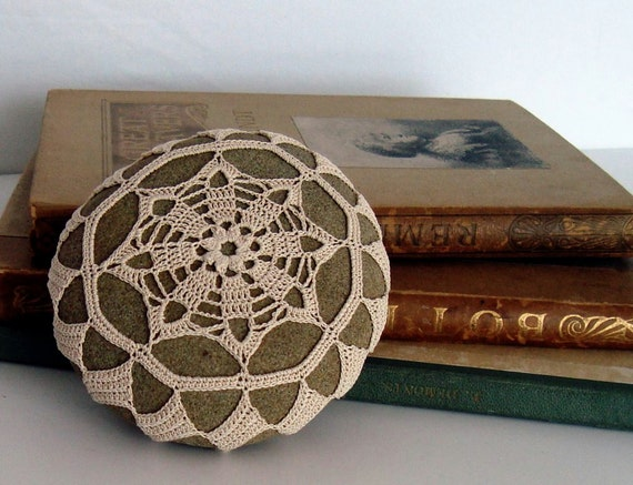 Home Office Table Decor, Crochet Lace Stone, Natural Cream Beige Cotton Thread, Beach Art, Tiny Stitches, Unique Handmade Gift