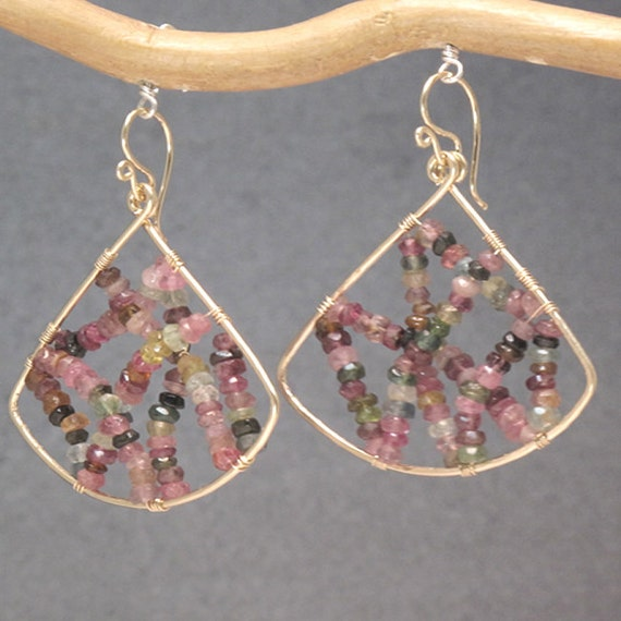 Hammered fan earrings with mixed tourmaline beads Bohemian 3