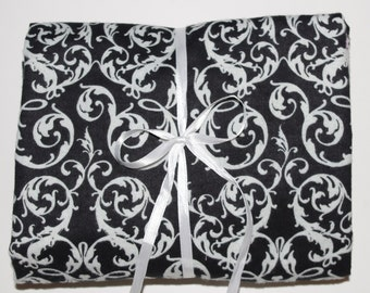 Pack n Play Sheet Fitted Cotton Flannel Playard Sheet - Black White Damask