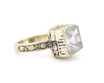 New Vintage Retro Simple Antique Transparent Stone RING,Size 7.5 <D8>