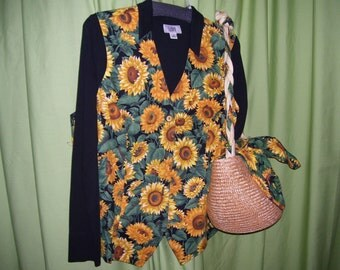 Sunflower, Straw, Handbag, Purse, Set, 2Fer, BONUS Sunflower Vest,  Resort Cruise Wear