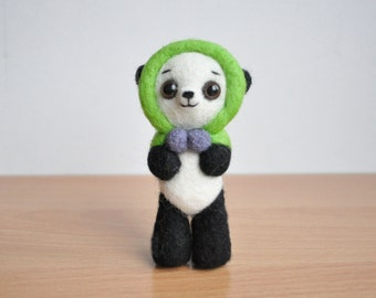 Panda in green hat needle felted