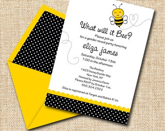 INSTANT DOWNLOAD, Babyshower, What will it Bee, Gender Reveal, Bumble Bee Printable 5 x 7 Invitation, You Edit Yourself in Adobe Reader