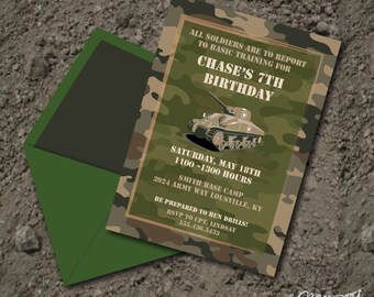 INSTANT DOWNLOAD, Classic Camo, Army Military Birthday Boy Printable 5 x 7 Invitation, You Edit Yourself in Adobe Reader
