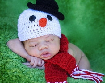SNOWMAN Baby Hat & Scarf - photo prop  - acrylic/ wool - Made To Order