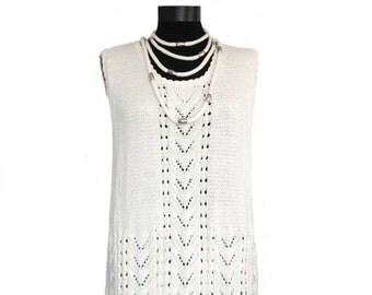 Hand knit dress,Wedding dress,wedding bridesmaids,cotton dress,cream dress, womens knit dress,knit necklace,Dress