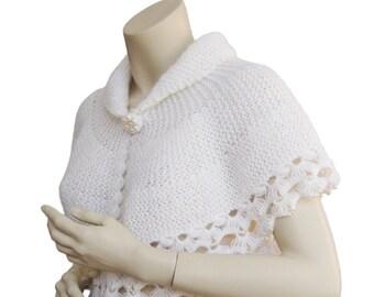 Hand knitter Bolero,Weddings Bolero,wedding bolero with pearl beads,Bridal Bolero,bridesmaid Bolero,cream bolero