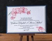 Watercolor Orchids Letterpress Wedding Invitation - DEPOSIT