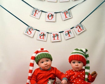 Crochet Twins Christmas Red and Green Stocking Hats