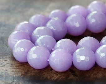 Faceted Jade Beads, Lilac, 10mm Round - 15 inch strand - eJFR-M09-10