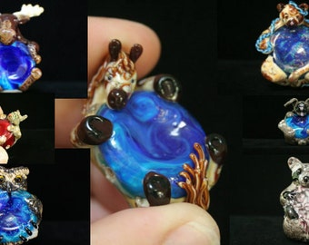 Custom Order Wildlife Series Glass Support Spinning Spindle Bowl, Handmade Moretti Glass Lampwork Spindle Bowl