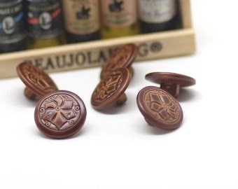 6 pcs 0.59 inch Brown Carved Imitation leather Plastic Shank Buttons for Suits