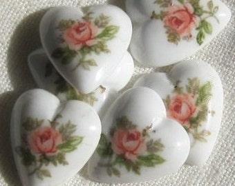 Pink Rose Heart Flat back Cabochon 11MM Flower 8