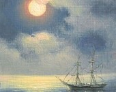 "174 - ""Full Moon"",  5""x 7"" original canvas giclee print"