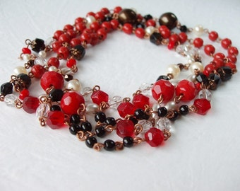 Long Red Necklace. Beaded Jewelry. Layered Necklaces. Red Jewelry. Flapper Necklace. Valentines Day Gift Ideas. Gift for Her. Gifts