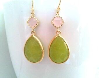 Ice Pink and Peridot Opal Wedding earrings, Drop, bridesmaid gifts, Gemstone,Wedding jewelry,Dangle,Mother's Day Gift