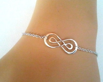 SALE!! Double Infinity Bracelet, Friendship bracelet, Charm Bracelet, wedding bracelet,graduation gift, mother's day gift