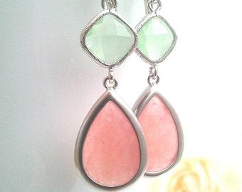 Coral earrings, Blush Pink Earrings, Mint Drop, Dangle earrings, bridesmaid gifts, Wedding Earrings, Bridal Jewelry, Christmas Gift