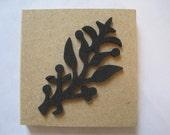 "Leaf Ornament Rubber Stamp Stencil Size 3.5"" Length E606s"