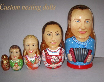 Russian style Custom nesting doll  Custom portrait  / by photo      5 pieces