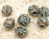 8mm Olive Leaves Spacer Beads, Rustic, Patina, Mykonos Casting Beads (4) - M59 - X2687