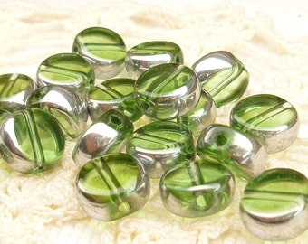 8mm Peridot Green Translucent Crystal Coin Glass Beads (10)