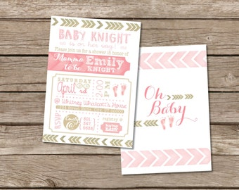 Chevron rose et or Baby Shower Invitation