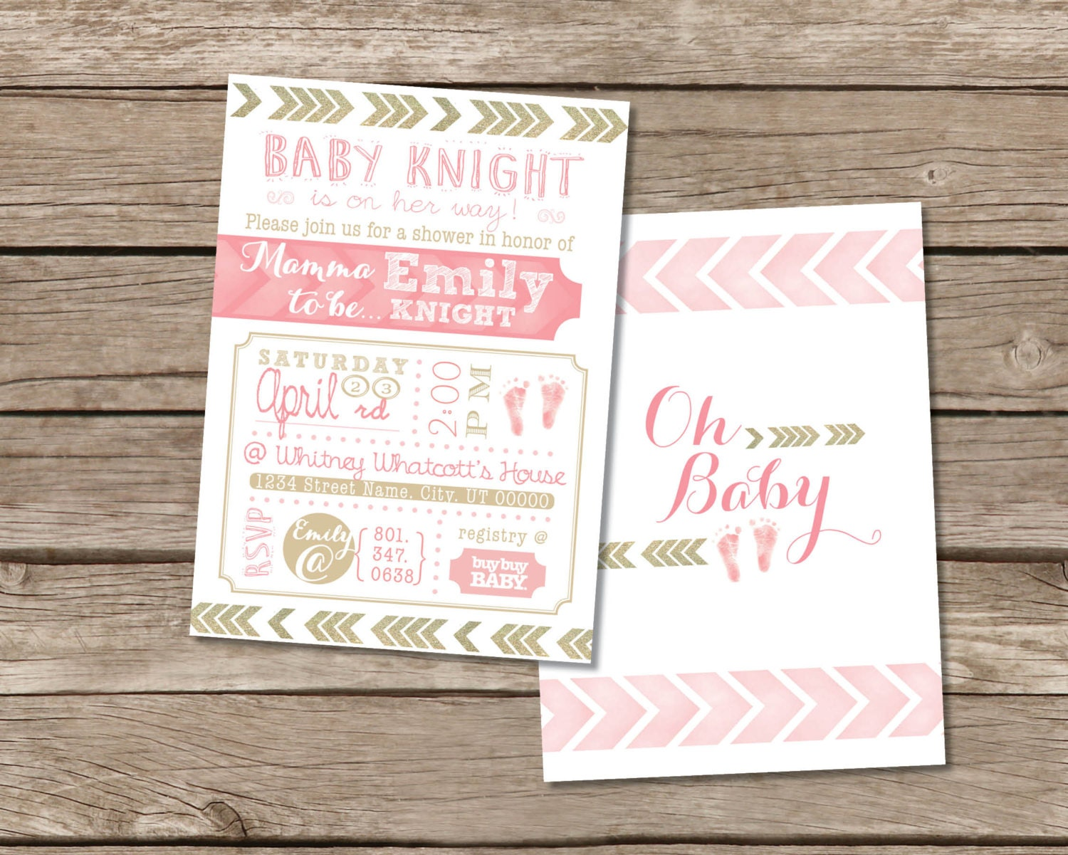 pink and gold chevron baby shower invitation