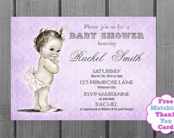 Purple Damask Baby Shower Invitation and FREE Thank You Card Printable DIY