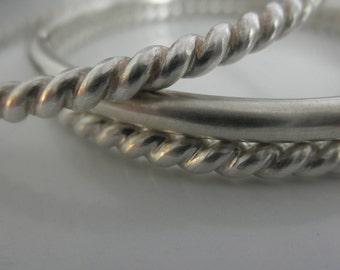 Set of 3 Heavy  Sterling silver bangle bracelets