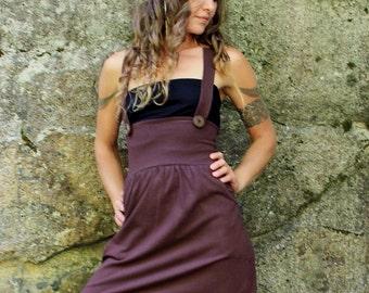 Suspender Dress-Dress-casual comfortable dress-ladies dresses-brown dress-Halter top dress-yoga women dress-dresses women's-trendy modern